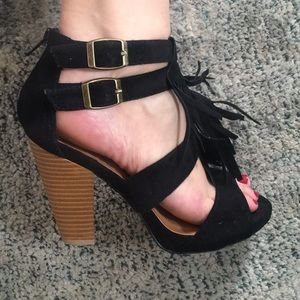 Black Suede Heels with Block Heel